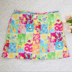 BAMBOO TRADERS Bright Colorful Patchwork Skirt